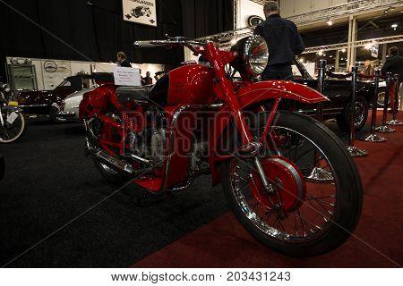 MAASTRICHT NETHERLANDS - JANUARY 08 2015: Motorcycle Moto Guzzi Airone 1956. International Exhibition InterClassics & Topmobiel 2015