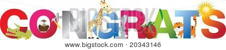 The word congrats  made up from alphabet cartoon letters with matching animals and objects