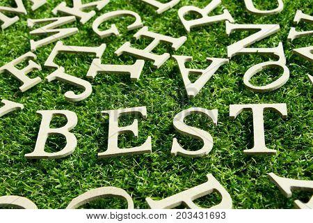 Wood alphabet as wording best on artificial green grass bckground