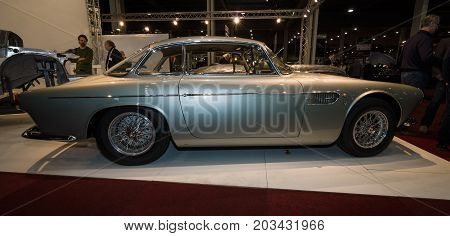 MAASTRICHT NETHERLANDS - JANUARY 08 2015: Sports car Maserati A6G 2000 with Carrozzeria Allemano bodywork. Side view. International Exhibition InterClassics & Topmobiel 2015