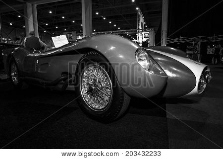 MAASTRICHT NETHERLANDS - JANUARY 08 2015: Racing car the Ferrari 250 Testa Rossa. Black and white. International Exhibition InterClassics & Topmobiel 2015