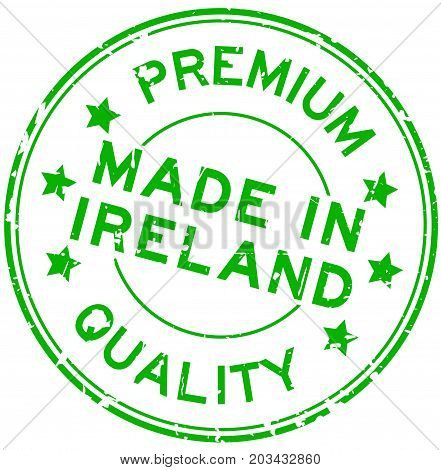 Grunge green premium quality made in Ireland round rubber seal stamp on white background