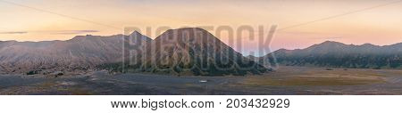 Panorama of Mt. Bromo crater at Bromo tengger semaru national park East java Indonasia