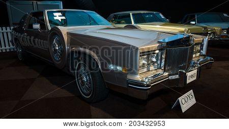 MAASTRICHT NETHERLANDS - JANUARY 08 2015: Full-size personal luxury car Cadillac Eldorado Paris 1983. International Exhibition InterClassics & Topmobiel 2015