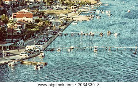 Beautiful seashore in Trogir Croatia Adriatic sea. Travel destination. Summer vacation. Beauty photo filter.