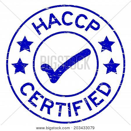 Grunge blue HACCP (Hazard Analysis Critical Control Point ) certified round rubber stamp on white background