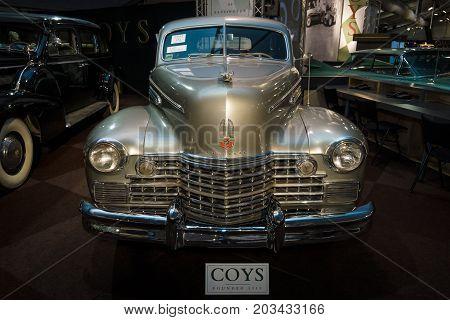 MAASTRICHT NETHERLANDS - JANUARY 08 2015: Full-size luxury car Cadillac Series 75 Fleetwood 1942. International Exhibition InterClassics & Topmobiel 2015