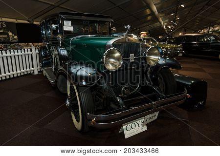 MAASTRICHT NETHERLANDS - JANUARY 08 2015: Oldtimer Cadillac 341-A Fleetwood 1929. International Exhibition InterClassics & Topmobiel 2015