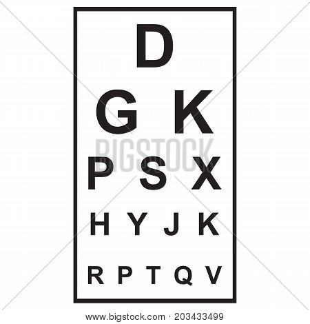 Eye Chart Icon Eyesight Medical Exam Black And White