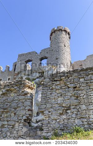 Ruins of medieval castle Ogrodzieniec Castle Podzamcze Poland. The castle is situated on the 515.5 m high Castle Mountain built in the 14th century located on the Trail of the Eagles Nests