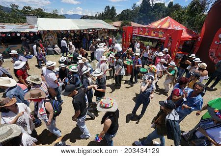 August 6 2017 Medellin Colombia: people having fun outdoors at the annual flower festival