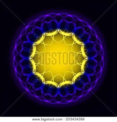 Circle of twisted luminous violet yellow elements for design. Vector illustration.