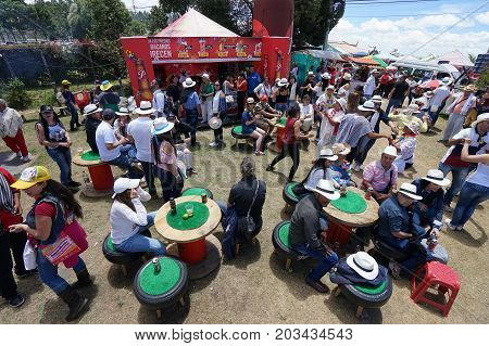 August 6 2017 Medellin Colombia: tourists party outdoors during the flower festival in the Piedra Gorda area