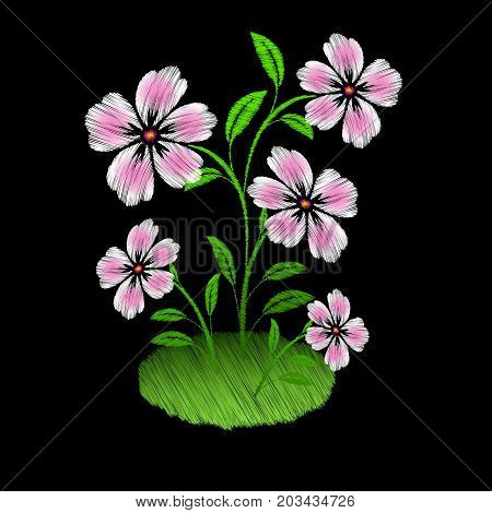 Embroidered pink flowers on black background. Vector illustration
