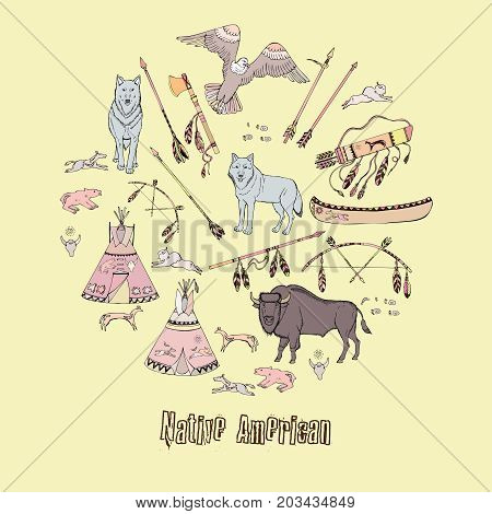American Indian Background. Hand drawn sketches. Vector Illustration