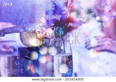 Celebration. Valentine's Day. Sommelier or waiter pours white wine in a glass. New Year, Christmas. holiday