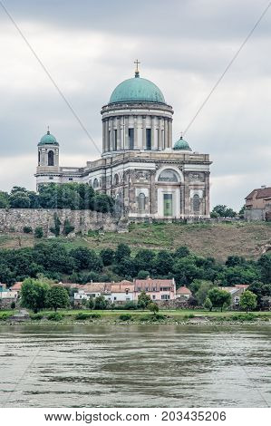 Beautiful basilica and Danube river in Esztergom Hungary. Cultural heritage. Travel destination. Place of worship. Religious architecture.
