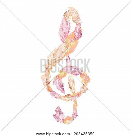 Boho style music sign made of ornamental feathers with watercolor effect in orange and pink colors on white background