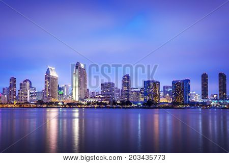 San Diego California USA downtown skyline at the Embarcadero