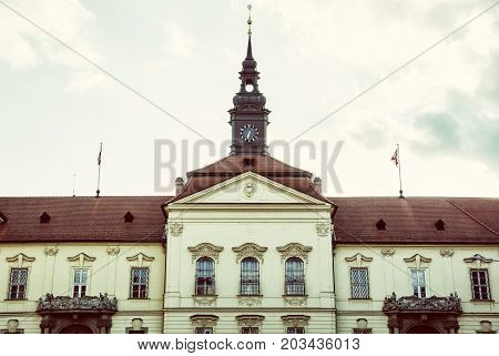The municipality house of Brno city southern Moravia Czech republic. Architectural scene. Old photo filter.
