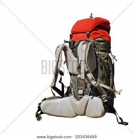 full backpack isolated on a white background