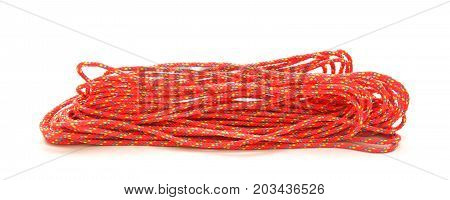 thin red rope isolated on white background