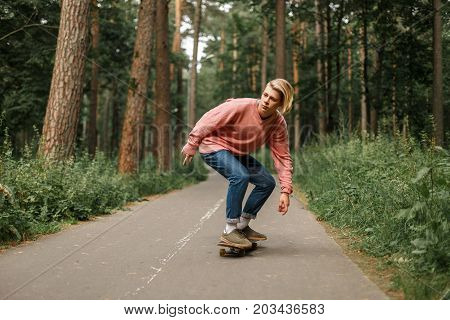 Young Handsome Young Man With A Hairstyle In A Pink Sweater Skates On A Skateboard In The Park