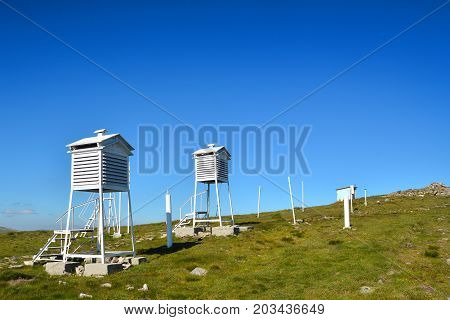a weather station in the mountains, landscape