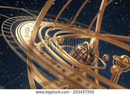 Armillary Sphere On Blue Background. 3D Illustration.