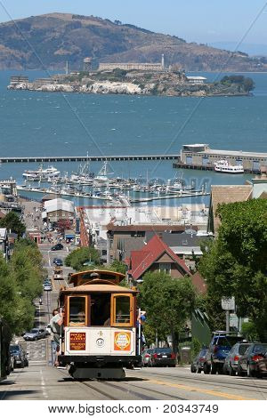 Cable Car with Alcatraz in the background, San Francisco