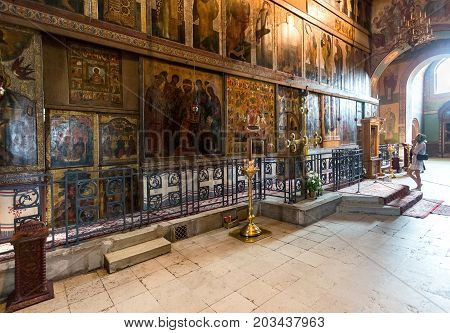 Veliky Novgorod Russia - August 17 2017: Interior of the Russian orthodox St. Sophia Cathedral in Veliky Novgorod Russia. Cathedral was founded in 1050
