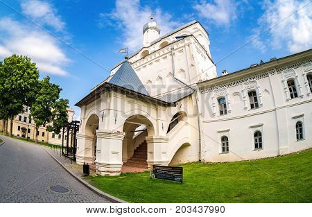 Veliky Novgorod Russia - August 17 2017: Bell tower of St. Sophia Cathedral in Novgorod kremlin. Veliky Novgorod - famous ancient Russian city was founded in 859