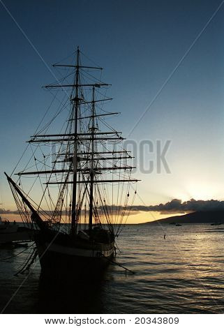 Silouhette of an old sailing ship, in Lahaina, Hawaii