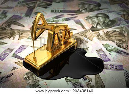 Gold Pumpjack And Spilled Oil On North Korean Wons. 3D Illustration.