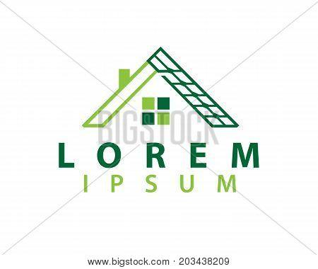 solar panels on house logo, house solar logo, icon design, isolated on white background.