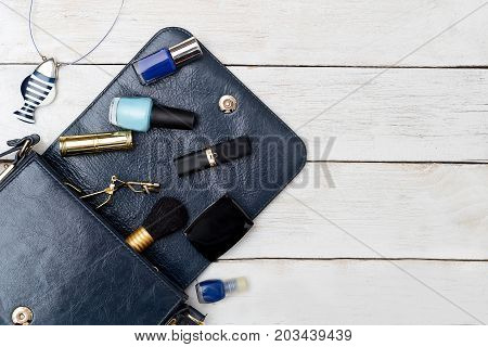Cosmetics and accessories are dark blue. Mockup