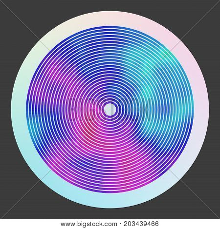 Abstract psychedelic colorful illustration. Modern round label for a vinyl disk. Flowing acid haze. Vivid ethereal background. Element of design.