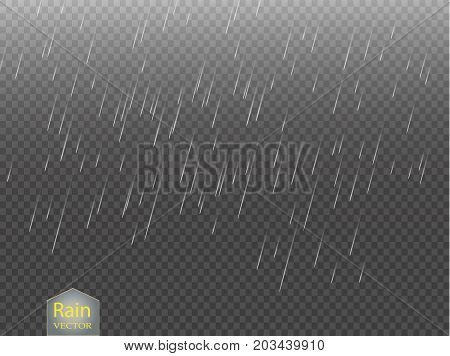Rain transparent template background. Falling water drops texture. Nature rainfall on checkered background. EPS 10 vector file included