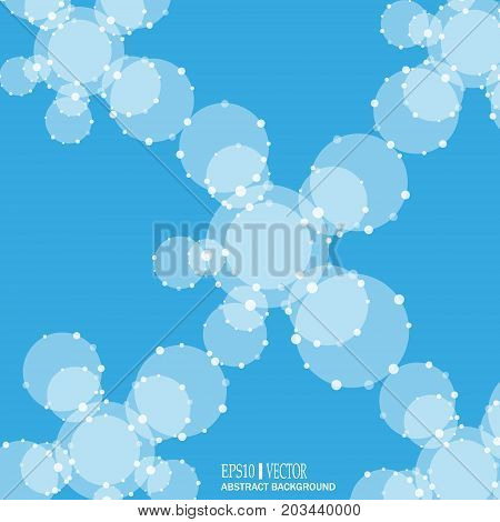 DNA and neurons vector. Molecular structure. Connected lines with dots. Genetic and chemical compounds. Chemistry, medicine, science and technology concept. Geometric abstract background.