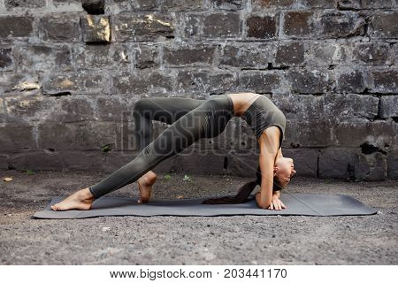 Sporty Beautiful Young Woman Practicing Yoga Working Out, Wearing Sportswear, Outdoor Full Length, B