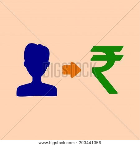 Vector User Indian Rupee Earnings Icon With Currency