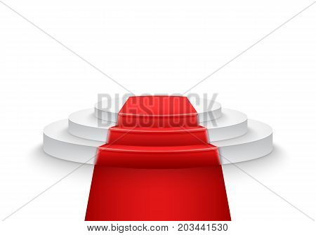 Illustration of Vector Podium Template. 3D Realistic Vector Winner Podium with Bright Light