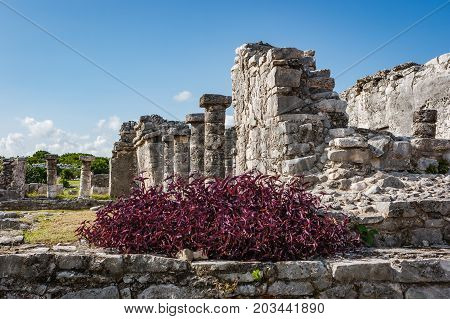 Ruins At The Tulum Archaeological Site, Quintana Roo, Mexico.