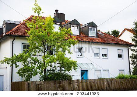 modern multi-family house white facade Germany, europe
