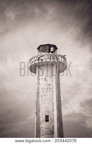 Lighthouse In Puerto Morelos, Quintana Roo, Mexico.
