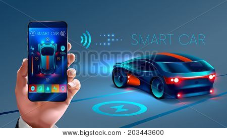 smartphone application to control the smart car by internet. Security system smart car. the smart car sends information about its status to the smart phone . VECTOR
