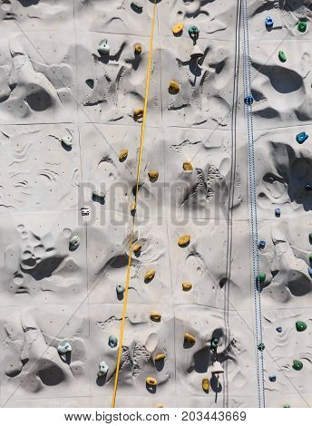Yellow and Blue Ropes on a Climbing Wall.jpg