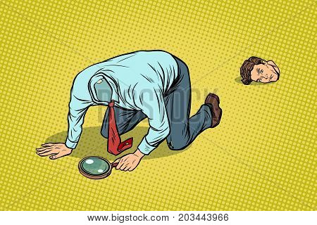 The man lost his head. Looking with a magnifying glass. pop art retro vector illustration