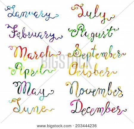 Set with hand drawn watercolor calligraphic lettering of 12 months isolated on white. Calendar concept with twelve months hand writing lettering