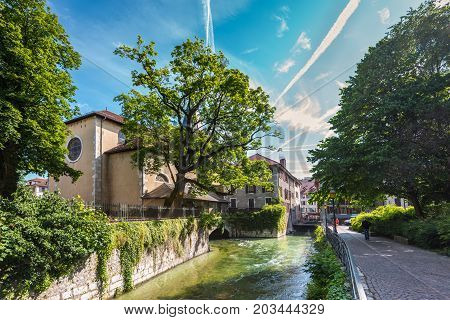 Annecy France - May 25 2016: View of the canal in city centre of Annecy capital of Haute Savoie province in France. Annecy is known to be called the French Venice.
